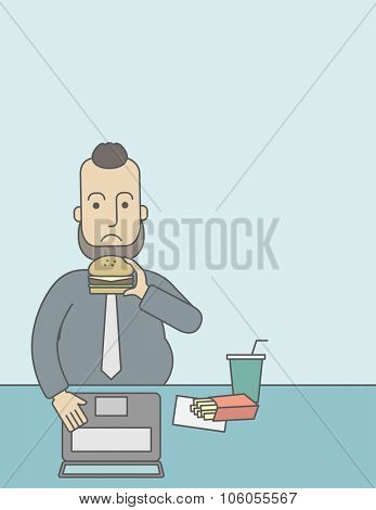 A caucasian fat man with beard working on laptop at the table eating junk food. Vector line design illustration. Vertical layout with a text space for a social media post.