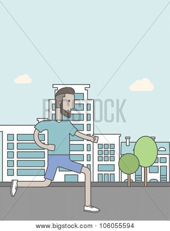 A caucasian hipster man with beard jogging on street. Vector line design illustration. Lifestyle concept. Vertical layout with a text space for a social media post.