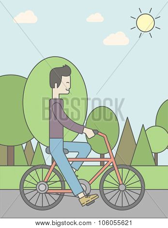 An asian man riding a bicycle in park. Vector line design illustration. Sport concept. Vertical layout with a text space for a social media post.