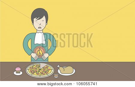 An asian man standing near the table with food suffering from heartburn. Vector line design illustration. Horizontal layout with a text space for a social media post.