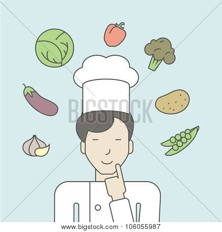 A cheerful asian chief-cooker in uniform with finger up and vegetables flying in air. Vector line design illustration. Square layout.