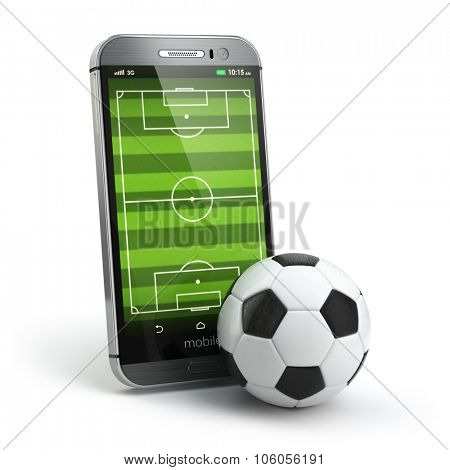 Mobile soccer. Football field on the smartphone screen and ball. Online ticket sales concept. 3d