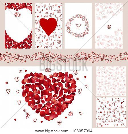 Wedding and Valentine's floral templates with red rose petals. For romantic design, announcements, postcards, posters.