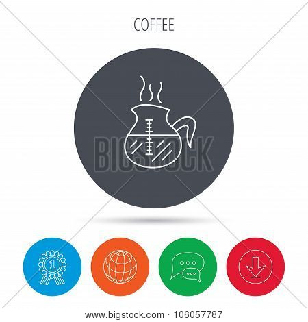 Coffee kettle icon. Hot drink pot sign.
