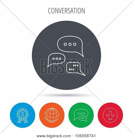 Conversation icon. Chat speech bubbles sign.