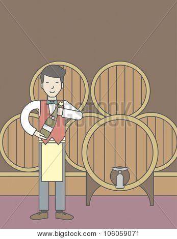 An asian waiter with a bottle of wine in wine cellar. Vector line design illustration. Vertical layout with a text space for a social media post.