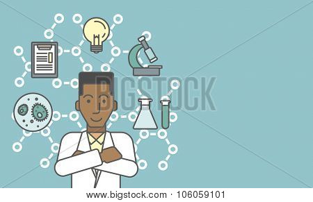 An african-american laboratory assistant with different icons around him symbolizing laboratory work on a background with molecular structure. Vector line design illustration. Horizontal layout with a