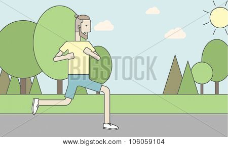 A caucasian hipster man with beard jogging in the park. Vector line design illustration. Horizontal layout with a text space for a social media post.