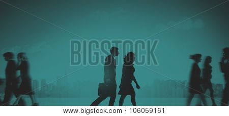 Business Couple Commuter Corporate Cityscape Pedestrian Concept