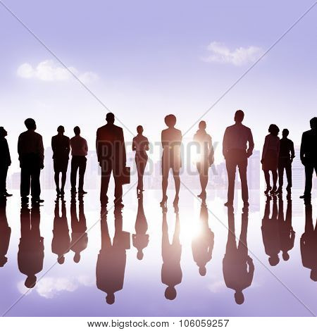 Group Business People Silhoutte Looking Up Vision Concept