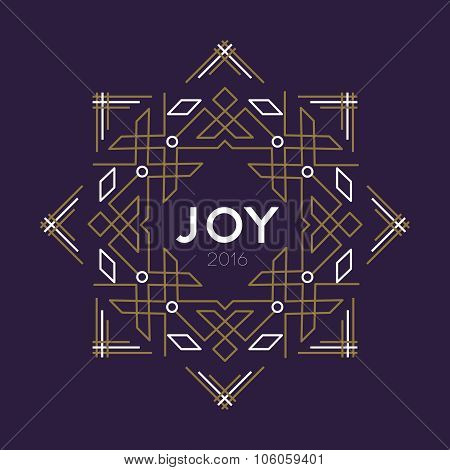 Happy New Year 2016 Frame Art Deco Joy Card Line