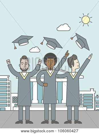 Happy graduates throwing up their hats on a city background with academy building. Vector line design illustration. Vertical layout with a text space for a social media post.