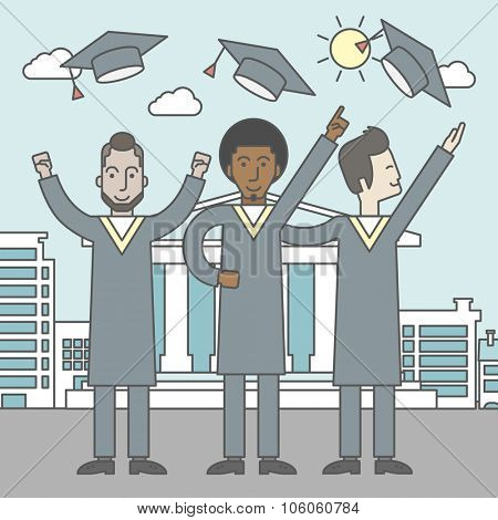 Happy graduates throwing up their hats on a city background with academy building. Vector line design illustration. Square layout.