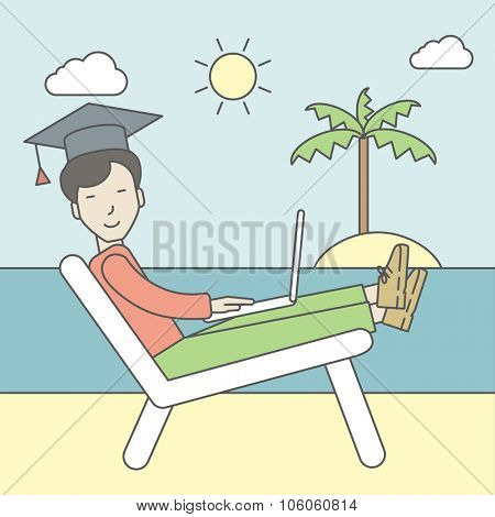 An asian man in graduation cap lying in chaise long on the seashore. Vector line design illustration. Square layout.
