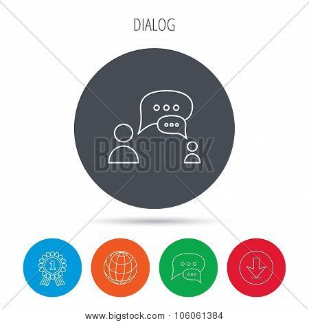 Dialog icon. Chat speech bubbles sign.