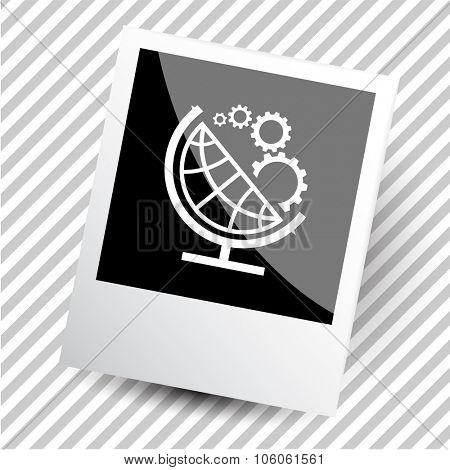 globe and gears. Photoframe. Vector icon.
