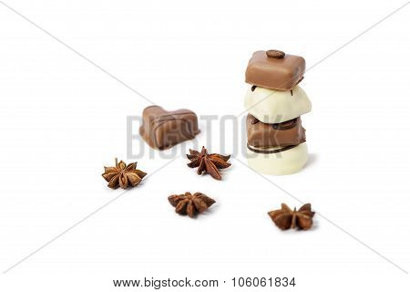 Chocolate candy tower on white