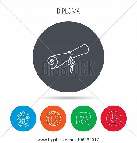 Diploma icon. Graduation document sign.
