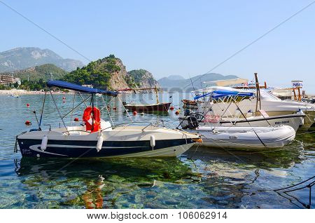 Pleasure Boats At The Waterfront In Resort Town Of Petrovac, Montenegro