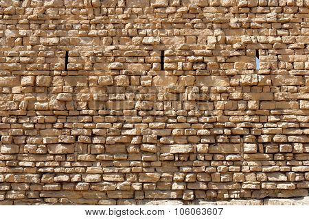 Ancient stone wall texture of the Kerak castle in Jordan