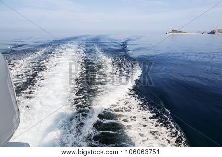 Waves Behind Boat Underway