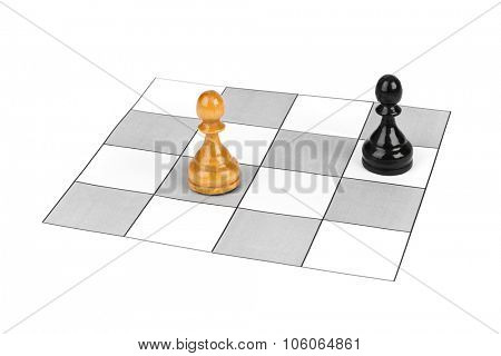 Chess pawns isolated on white background