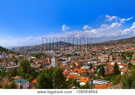 Cityscape of Sarajevo - Bosnia and Herzegovina - architecture travel background