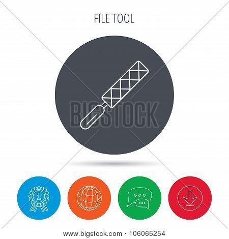 File tool icon. Carpenter equipment sign.