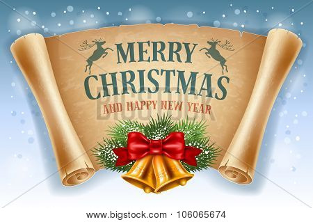 Merry Christmas greeting card with golden jingle bells and old scroll paper. Vector illustration.
