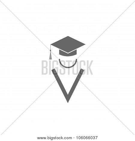Silhouette Graduate Icon, Student Education Logo, Square Academic Cap And Abstract Gown