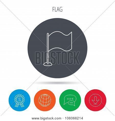 Waving flag icon. Location pointer sign.