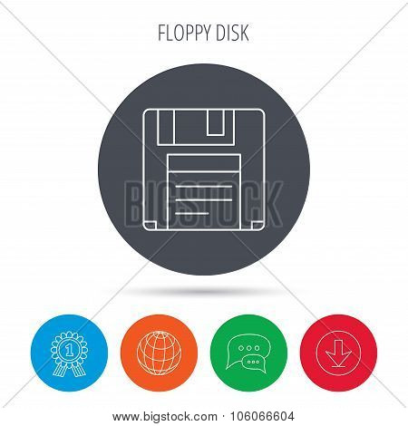 Floppy disk icon. Retro data storage sign.