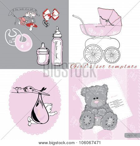 sef for girl include pram, storn with baby, bows, bottles on whi