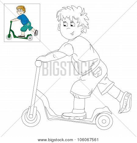Picture For Coloring - Boy On The Scooter.