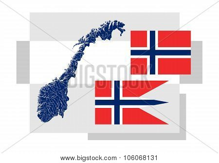 Map Of Norway With Lakes And Rivers And Two Norwegian Flags.