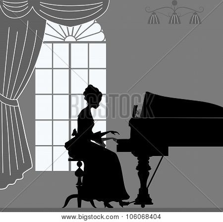Silhouette Of Woman, Which Plays Piano
