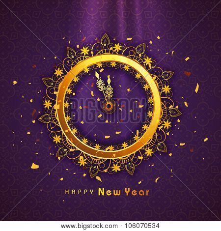 Beautiful floral decorated golden clock showing almost Twelve 'O' clock on shiny purple background for Happy New Year celebration.