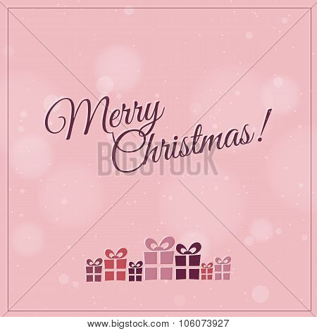 Retro Christmas card with christmas present - pink, violet, cherry and biege