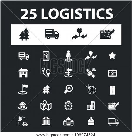 Logistics, delivery, shipping icons & signs concept vector set for infographics, website