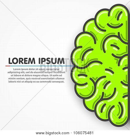 Cartoon green left part of human brain. Clean vector