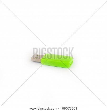 Green Usb Memory Stick Isolated On White