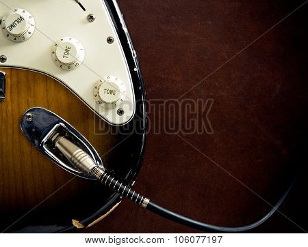 Guitar Body Part Plugged Cable Detail