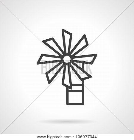 Wind turbine black line vector icon