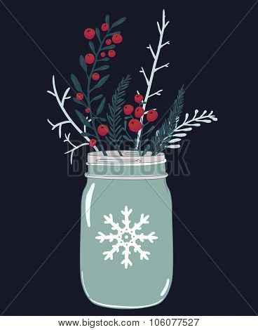 Mason jar and winter composition of red berries, holly and branches of fir. Christmas card vector il