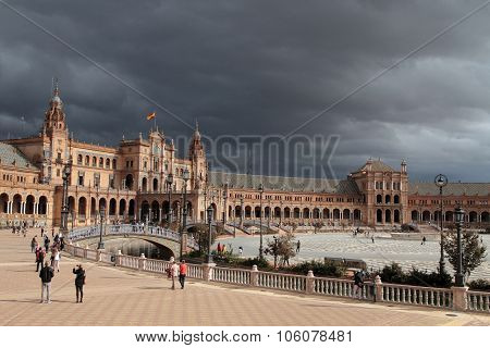 Seville, Spain, October 19, 2015 : The Plaza De Espana, In Maria Luisa Park (parque De Maria Luisa),