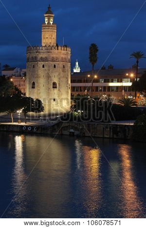 Seville, Spain, October 19, 2015 : The Torre Del Oro By Night. The Tower Was Built As A Watchtower A
