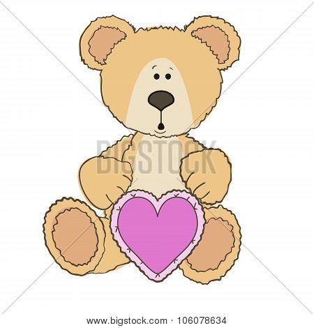 Teddy Bear is sitting with heart