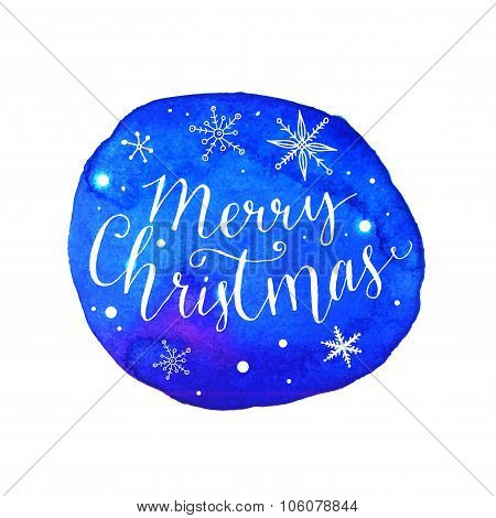 Merry Christmas lettering with white snow at artistic blue background. Vector greeting card with mod