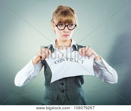 Unhappy Business Woman Showing Crumpled Contract