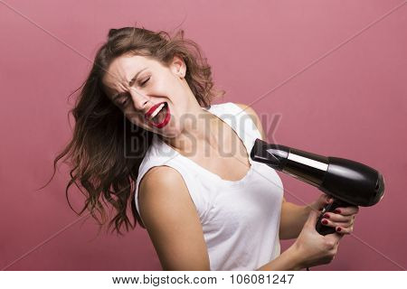 Woman Drying Her Hair